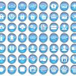 青い web、マルチ メディアのセットと白い背景の上のビジネスのアイコン — ストックベクタ