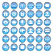 Set of blue web, multimedia and business icons on a white background — Stock Vector