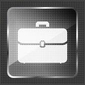 金属製のバック グラウンドのガラス ブリーフケース アイコン — ストックベクタ