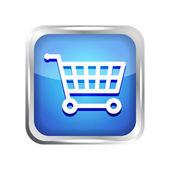 Blue shopping cart icon on a white background — Stockvektor