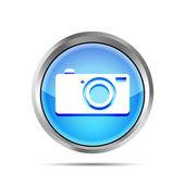 Bouton icône appareil photo numérique bleu sur fond blanc — Vecteur