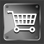 Glass shopping cart icon on a metallic background — Stock Vector