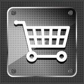 Szkło zakupy koszyka ikonę na tle metalowe — Wektor stockowy