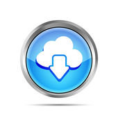 Blue download from cloud icon on a white background — Stock Vector