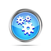 Blue metallic icon with gears on white background — Stock Vector