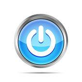Blue power button icon on ta white background — Vetor de Stock