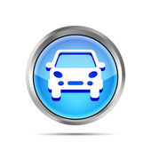 Blue car button icon on a white background — Stock Vector