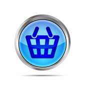 Blue shopping basket icon on a white background — Stock Vector
