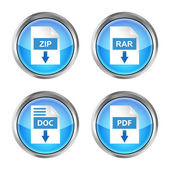 Set of blue rar, zip, doc and pdf download icons on a white background — Stock Vector