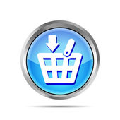 Blue shopping basket icon on a white background — Stock vektor