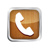 Wooden phone button icon on a white background — Stock Vector