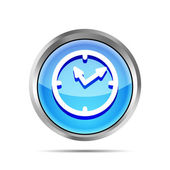 Blue shiny watch icon on a white background — Stock Vector