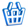Blue shopping basket icon on a white background — Stock fotografie