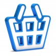 Blue shopping basket icon on a white background — Stok fotoğraf
