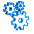 Blue icon with gears on a white background — Stock Photo