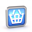 Blue shopping basket icon on a white background — Stock Photo