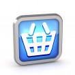 Blue shopping basket icon on a white background — Stock Photo