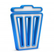 Blue trash bin icon on a white background — Stok fotoğraf