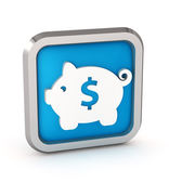 Blue icon with piggy bank on a white background — Stock Photo