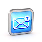 Blue striped mail icon with unread messages on a white backgroun — Stock Photo