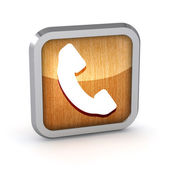 Metallic phone button icon on a white background — Stok fotoğraf