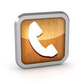 Metallic phone button icon on a white background — Stock Photo