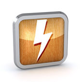 Wooden lightning icon on a white background — Stock Photo