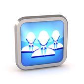 3d-blauwe groep van zakenman pictogram op een witte achtergrond — Stockfoto
