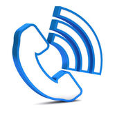 Blue phone button icon on a white background — 图库照片