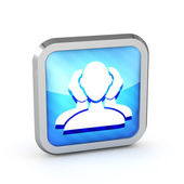 Blue striped user group web icon on a white background — Stock Photo