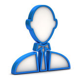 Blue businessman icon on a white background — 图库照片