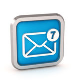 Blue mail icon with unread messages on a white background — Stock Photo