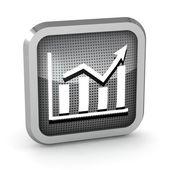 Metallic graph icon on a white background — Stock Photo