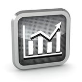 Icona grafico metallico su sfondo bianco — Foto Stock