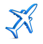 Blue airplane icon on a white background — Stock Photo