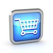 Blue shopping cart icon on a white background — Stock Photo
