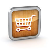 Wooden shopping cart icon on a white background — Stock Photo