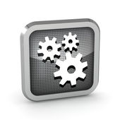 Metallic icon with gears on white background — Stock Photo