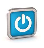 Blue power button icon on a white background — Stock Photo