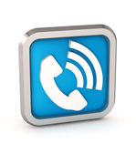 Blue phone button icon on a white background — Stock Photo