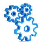 Icona blu con ingranaggi su sfondo bianco — Foto Stock