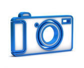 Blue digital camera icon on a white background — Stock Photo