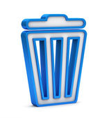 Blue trash bin icon on a white background — Stock Photo