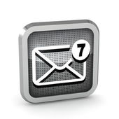 Mail icon with seven unread messages on a white background — Stock Photo