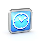 Blue striped watch icon on a white background — Stock Photo