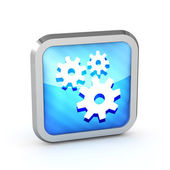 Blue striped icon with gears on a white background — Stock Photo