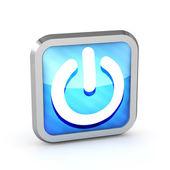 Blue striped power button icon on a white background — Stock Photo