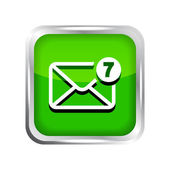 Green mail icon with unread messages on a white background — Stock Vector