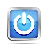 Niebieski pasiasty potęga przycisk ikona na białym tle — Wektor stockowy