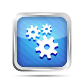 Blue striped metallic icon with gear on a white background — Stock Vector